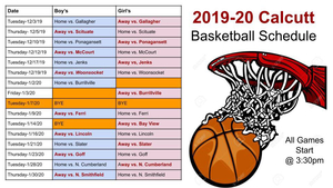 Calcutt Middle School Basketball Schedule